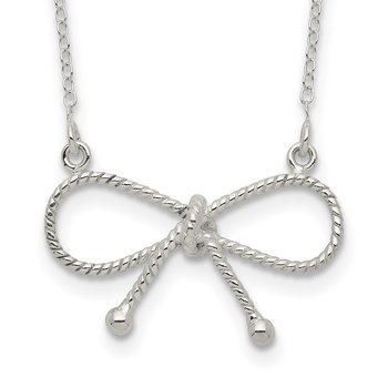 Sterling Silver Polished Bow Necklace