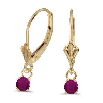 14k Yellow Gold Round Ruby Lever-back Earrings