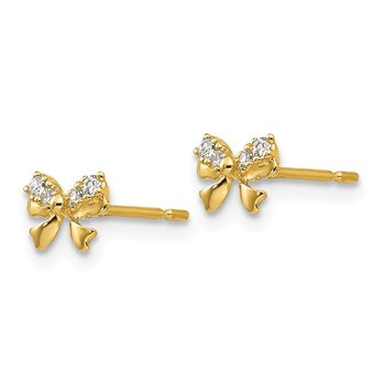 14k Madi K CZ Children's Bow Post Earrings