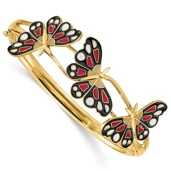 14K Polished Enameled Butterfly Hinged Bracelet
