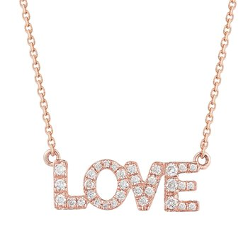 14K Love Pendant 33 Diamonds 0.12CT