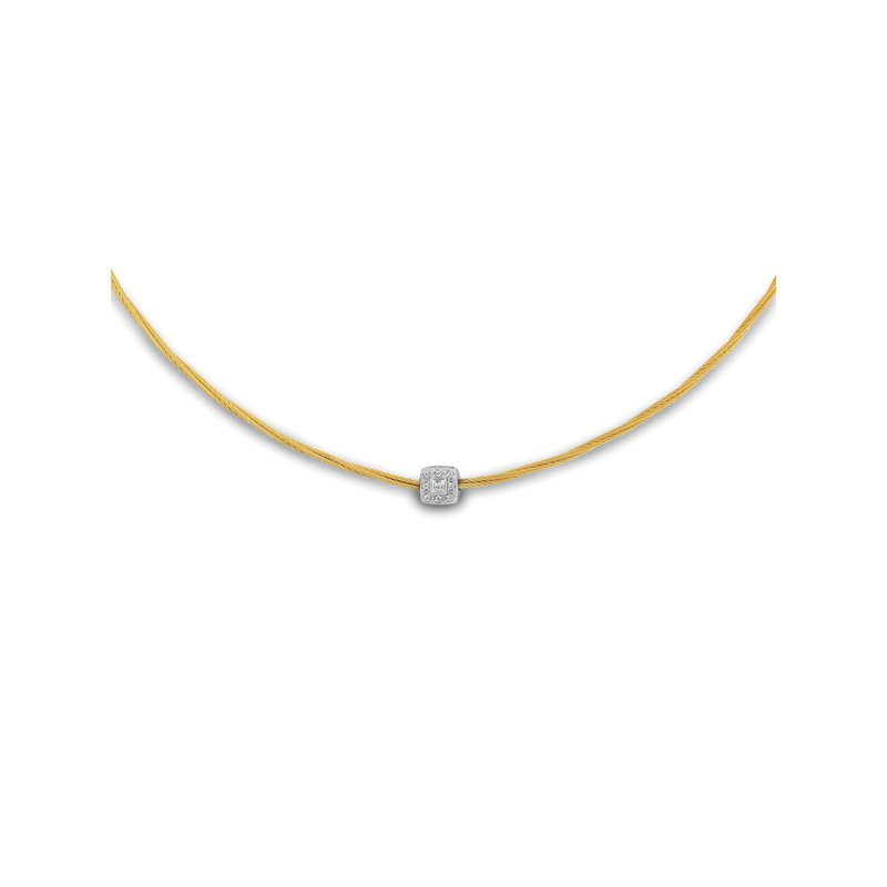 ALOR Yellow Micro Cable Necklace with Single Square Station set in 18kt White Gold