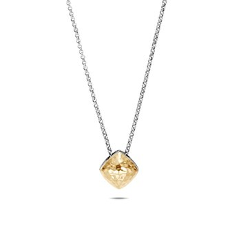 Classic Chain Small Sugarloaf Pendant, Silver, Hammered Gold