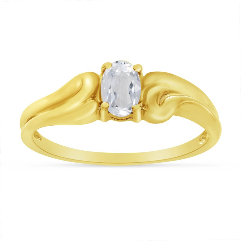 Color Merchants 14k Yellow Gold Oval White Topaz Ring