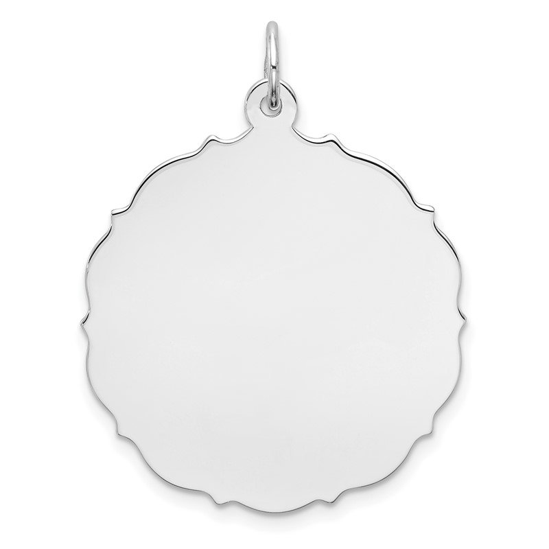Quality Gold Sterling Silver Rh-plt Engraveable Polished Front/Satin Back Disc Charm