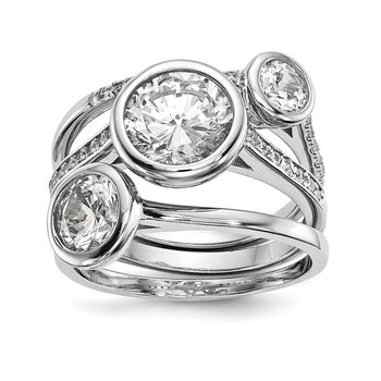 Sterling Silver Rhodium-plated CZ 3-Ring Set