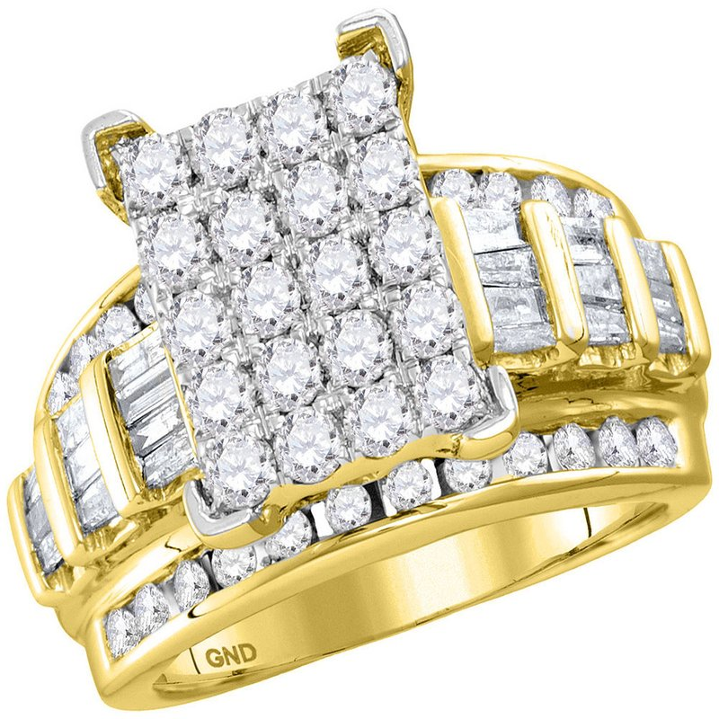 Gold-N-Diamonds, Inc. (Atlanta) 10kt Yellow Gold Womens Round Diamond Cindys Dream Cluster Bridal Wedding Engagement Ring 2.00 Cttw