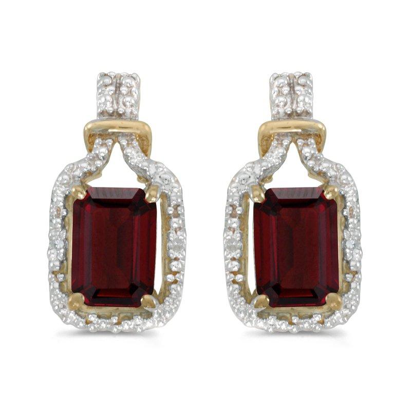 Color Merchants 14k Yellow Gold Emerald Cut Garnet And Diamond Earrings
