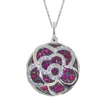 14k White Gold Floating Ruby Round Pendant