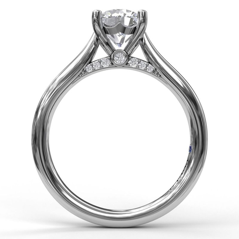 Fana Round Cut Solitaire With Decorated Bridge