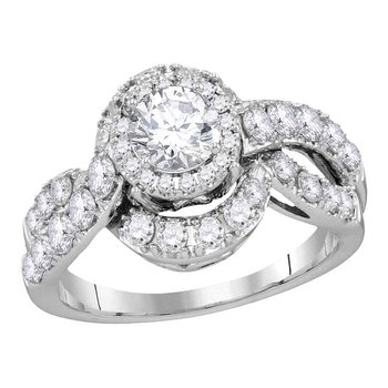 14k White Gold Womens Round Diamond Bridal Wedding Engagement Anniversary Ring 2.00 Cttw