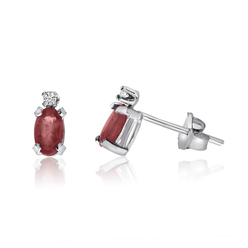 Color Merchants 14K White Gold Oval Garnet and Diamond Earrings