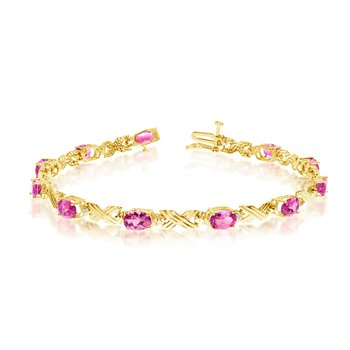 10K Yellow Gold Oval Pink Topaz and Diamond Bracelet