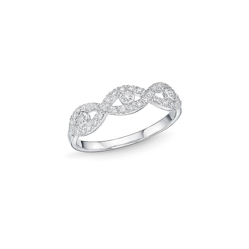 ALOR Catalog Infinity Motif White Gold & Diamond Stacking Ring