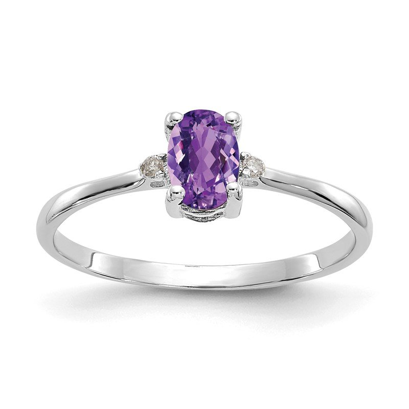 Quality Gold 14k White Gold Diamond & Amethyst Birthstone Ring