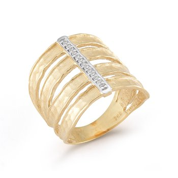 14K-Y CUT-OUT CUFF RING, 0.10CT
