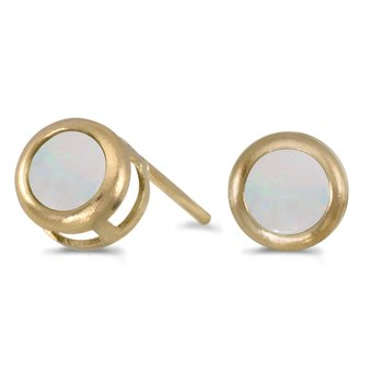 14k Yellow Gold Round Opal Bezel Stud Earrings