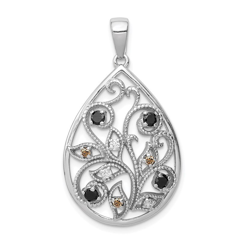 Quality Gold Sterling Silver Rhodium-plated Polished & Textured w/ CZ Pendant