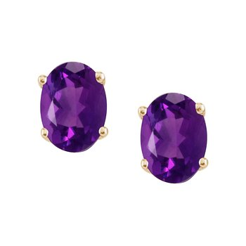 14k Yellow Gold Large 6x8 mm Oval Garnet Studs