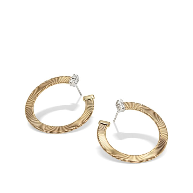 Marco Bicego Masai Yellow Gold and Diamond Large Wrap Hoops