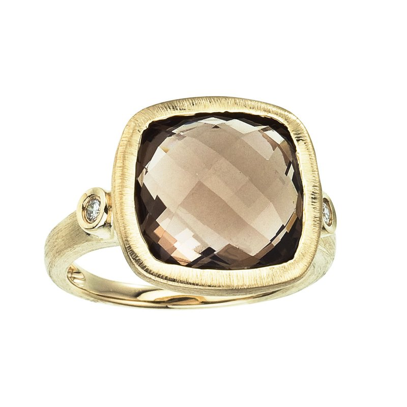 Color Merchants 14k Brushed Yellow Gold Cushion Cut Smoky Topaz and Diamond Ring