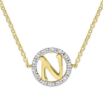 "Gold and Diamond Mini Halo ""N"" Initial Necklace"