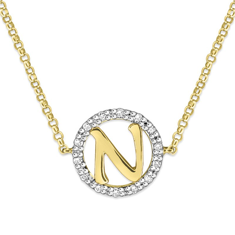 "KC Designs Gold and Diamond Mini Halo ""N"" Initial Necklace"