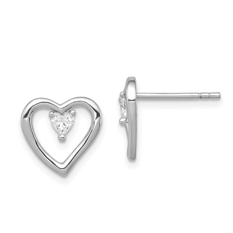 J.F. Kruse Signature Collection Sterling Silver Rhodium-plated CZ Polished Heart Post Earrings