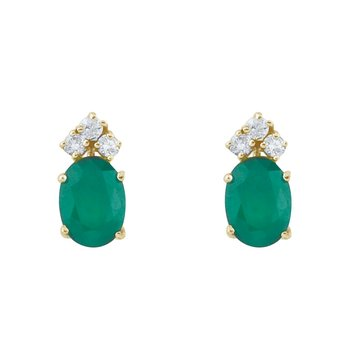 14k Yellow Gold Emerald And Diamond Oval Earrings