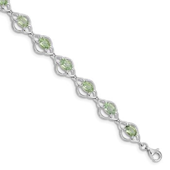 Sterling Silver Rhodium-plated Green Quartz Bracelet
