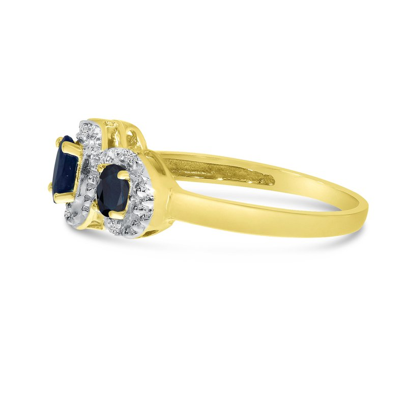 Color Merchants 10k Yellow Gold Oval Sapphire And Diamond Three Stone Ring