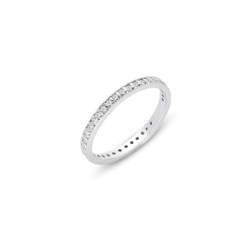 S. Kashi & Sons Bridal White Gold Millgrain Band