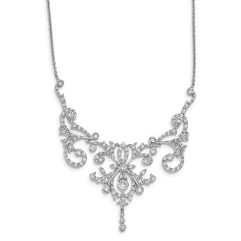 Cheryl M SS Rhodium-plated CZ Fancy Scroll 17in w/2in ext Necklace