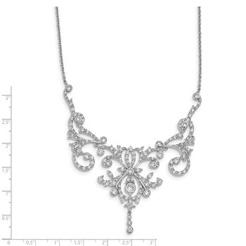 Cheryl M Sterling Silver CZ Fancy Scroll 17in w/2in ext Necklace