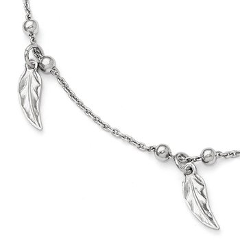 Leslie's Sterling Silver Polished Feather Anklet w/1in ext