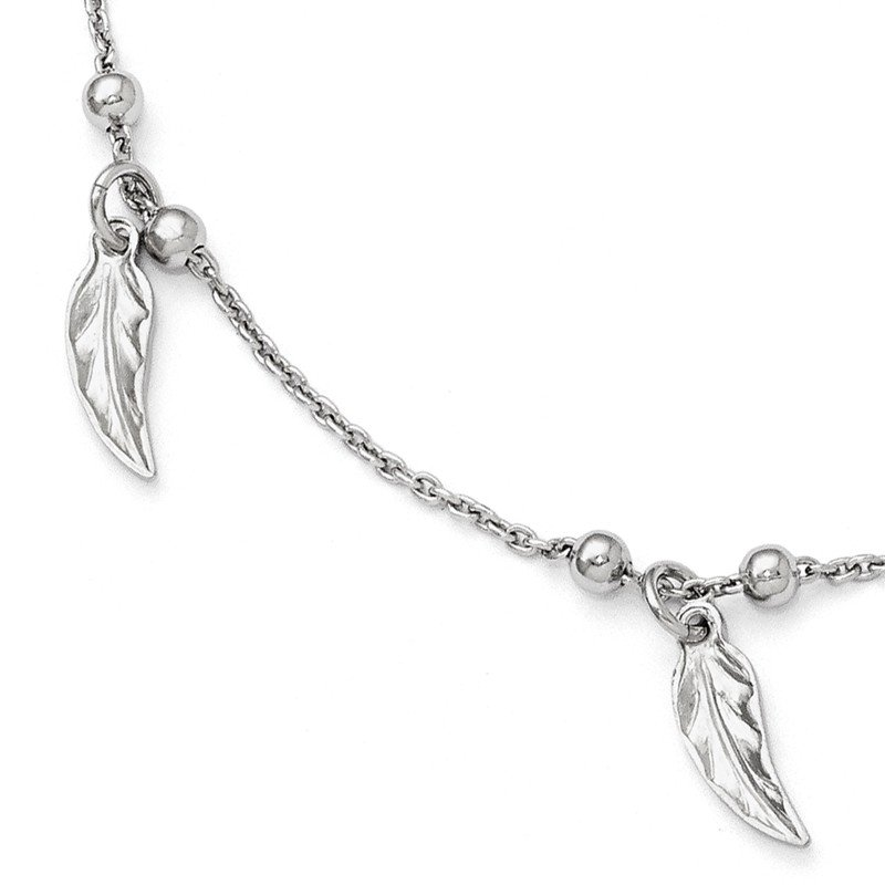 Leslie's Leslie's Sterling Silver Polished Feather Anklet w/1in ext