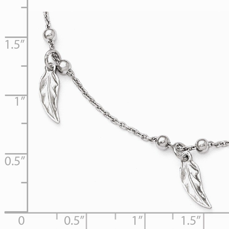 Leslie's Leslie's Sterling Silver Polished Feather w/1in ext. Anklet