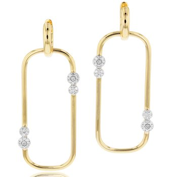 Yellow gold diamond Infinity Link large huggie earrings