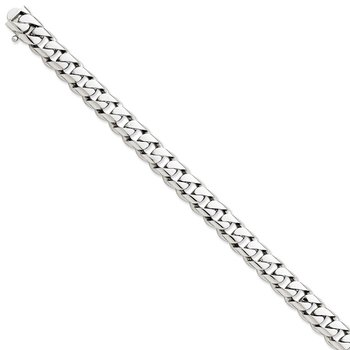 14k White Gold 9.6mm Hand-polished Rounded Curb Link Chain