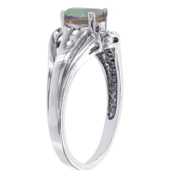 Sterling Silver Oval Mystic Fire Topaz Diamond Accent Ring