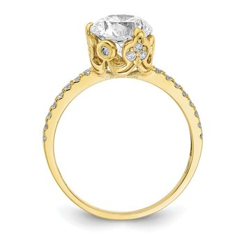 10K Tiara Collection Polished CZ Ring