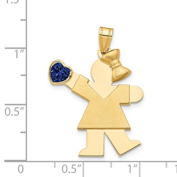 14k Girl with CZ September Birthstone Charm