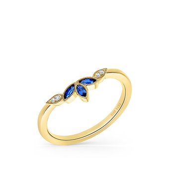 Sapphire Leaf Diamond Wedding Band