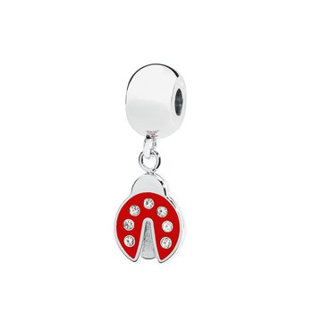 316L stainless steel red enamel and Swarovski® Elements white crystals.