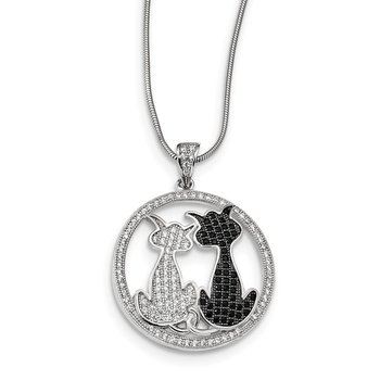 Sterling Silver Brilliant Embers Rhodium-plated CZ Cat Necklace