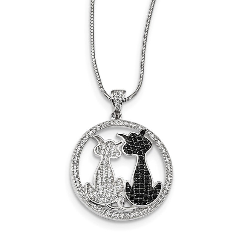Quality Gold Sterling Silver & CZ Brilliant Embers Cats Necklace