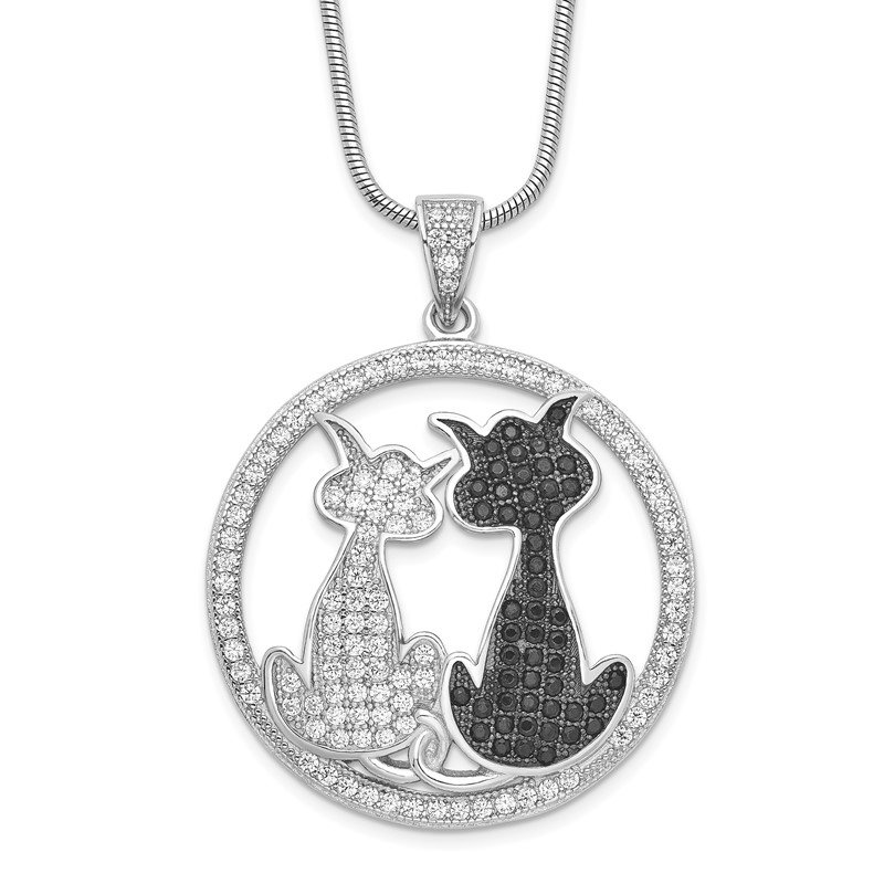 Quality Gold Sterling Silver Brilliant Embers Rhodium-plated CZ Cat Necklace