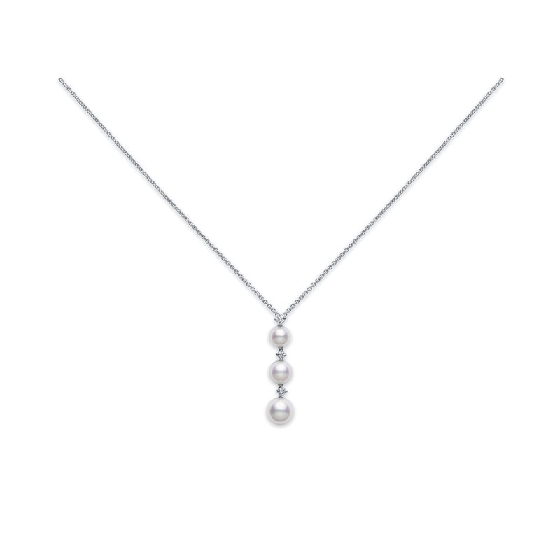 Mikimoto Three Pearl Drop Akoya Cultured Pearl Pendant