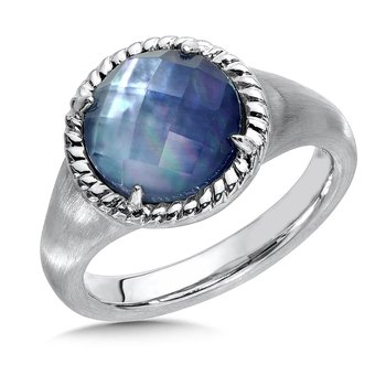 Sterling Silver Quartz & Dyed Blue Mother of Pearl Essentials Ring