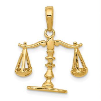 14k 3-D Moveable Scales of Justice Pendant